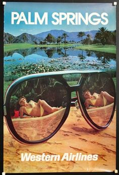 Western Airlines * Palm Springs #travel #poster (1970s)