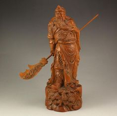 Superb Chinese Boxwood Statue - General Guangong
