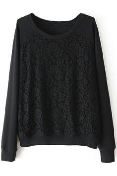ROMWE   Loose Lace Black Sweatshirt, The Latest Street Fashion