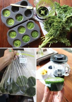 freeze greens for smoothie - puree with a little water, use muffin tins