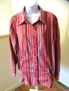 Tommy Hilfiger Woman Size 20 Ladies Long Sleeve Button Down Top Red Striped #TommyHilfiger #ButtonDownShirt #Casual