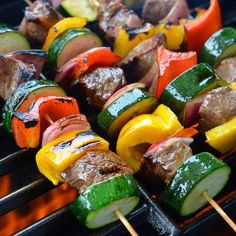 - #FlavorGod Rib Eye Steak Kabobs For More Delicious and Healthy Recipes follow: @FlavorGod @FlavorGod Marinaded Skewer: Steak Bell peppers Red onion Zucchini Marinade: 1/4 cup - Olive oil 1/2 tbsp. #FlavorGod Pink S&P or sea salt 1/4 cup - balsalmic vinegar 1 tbsp- #FlavorGod Garlic lover 1 tbsp - Honey Directions: Marinade the steak kabobs for 15-20 minutes, then cook them on the grill fast with high heat. About 6-8 minutes. Enjoy!