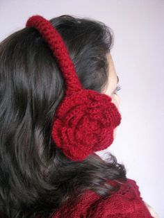 Baby it's cold outside! Red rose ear muffs