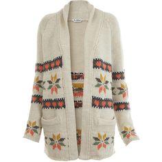 Cream Aztec Coatigan ($88) ❤ liked on Polyvore