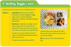 Create a healthy Veggie lunch for your child this school year! Free downloadable recipe card available today!