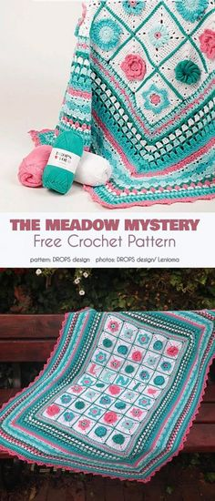 Crochet blanket patterns free 386887424239371795 - The Meadow Mistery Cal Blanket Free Crochet Pattern A perfect afghan with floral motif for your bedroom or living room. Crochet Squares Afghan, Baby Afghan Crochet, Crochet Quilt, Manta Crochet, Granny Square Crochet Pattern, Free Crochet, Crochet Granny, Granny Granny, Ripple Afghan