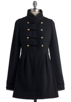 Regiment to Be Coat. Salute your love of military-inspired styles with this adorable knit coat by Knitted Dove! #black #modcloth