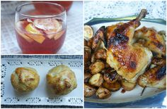 Clockwise from top left: Apple pomegranate sangria, Sheet pan apricot dijon chicken and puff pastry baked apples. (Shannon Sarna)