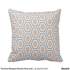 Tortoise Hexagon Pattern Grey and Fawn Throw Pillow