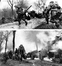 Battle of the Bulge - German infantry moving through a destroyed column of vehicles.