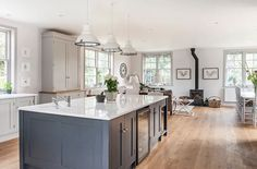 Hand made kitchen painted in Farrow & Ball Pavillion Grey on the cabinetry and Railings on the island unit Kitchen Niche, Wood Kitchen Cabinets, Kitchen Family Rooms, Kitchen Remodel, Barn Kitchen, Home Kitchens, Kitchen Living, Kitchen Design, Kitchen Paint