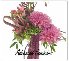 Autumn dahlias - gorgeous muted peach tones.  Floral Design Institute | classes |