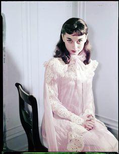 "rareaudreyhepburn: ""Audrey Hepburn photographed as her stage character Gigi, 1951. Photos by Arthur Rothstein. Edits by @rareaudreyhepburn """