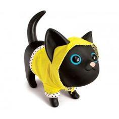 Spaarpot zwarte kat met gele regenjas. Lief!