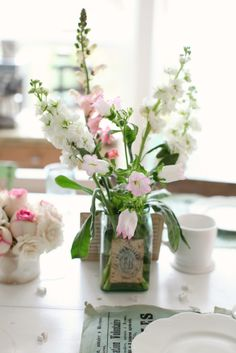 canning jar with flowers