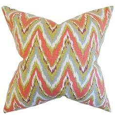 The Pillow Collection Matisse Zigzag Cotton Throw Pillow Color: Coral, Size: