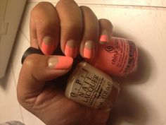 Half Moon nails with OPI Samoan Sand & China Glaze Flip Flop Fantasy!