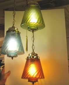 Vintage Three Orb Swag Lamps   Vintage 3 Color Globe Bee Hive Swag Lamp Hanging Light Amber Green ...