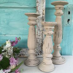 """I love creating beautiful candle holders that cant be found anywhere else. I know how important it is to choose things well instead of often. This set of 3 measures 18"""", 14"""" , 12"""" We provide exception"""