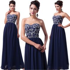 Long Navy Blue Evening Gown Bridesmaid Dresses Prom Dress Formal Party Ball Gown #GraceKarin #BallGown #Formal