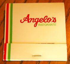 Angelo's Ristorante #matchbook - To order your business' own branded #matchboxes and #matchbooks, go to www.GetMatches.com or call 800.605.7331 today!