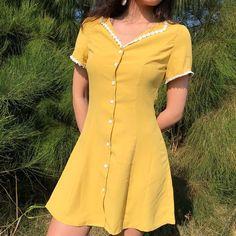 Bazaleas 2019 Fashion Center White Buttons Women Dress Vintage Yellow Slim Dresses A line Ruffles Appliques mini Price: Casual Summer Dresses, Modest Dresses, Pretty Dresses, Short Sleeve Dresses, Yellow Dress Casual, Yellow Outfits, Smocked Dresses, Yellow Shoes, Wrap Dresses
