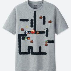 996201591 UT Namco Museum - Dig Dug Men's T-shirt Gray (M Size)