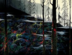 """Dawn's First Light"" by Eyvind Earle.  Completion Date: 1998.  Place of Creation: United States.  Style: Magic Realism."