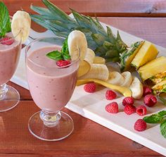 Raspberry Mint Cooler -- This refreshing beverage packs pineapple, banana and raspberries to make a nutritious drink