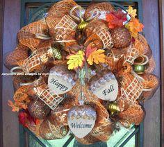 Fall Welcome Deco Mesh Wreath by myfriendbo