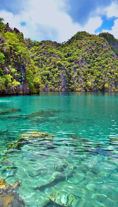 Kayangan Lago en Coron, Filipinas - Las aguas cristalinas color turquesa del Lago kayangan son absolutamente surrealista. El lago volcánico se encuentra entre dos montañas de piedra caliza, de las vistas panorámicas son simplemente fuera de este mundo. Un lugar increíble para ir a nadar o bucear, el agua es fresca, limpia y caliente. Vi un montón de camarones y peces aguja en el agua.