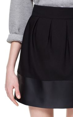 Faux Leather Combination Skirt $59.90 #Zara