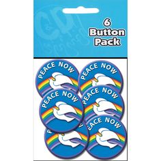 Button Party Pack 1.25in 6/Pkg Peace Now