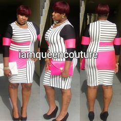 Sexy Celebrity Plus Size Black and Pink Stripe Bodycon Dress