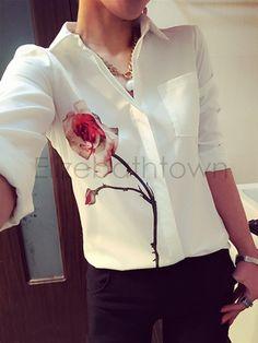 Nova Blusas senhoras OL elegante mulheres verão 2015 lapela Collar Floral impressão chiffon blusa 54 em Blusas de Roupas e Acessórios no AliExpress.com | Alibaba Group