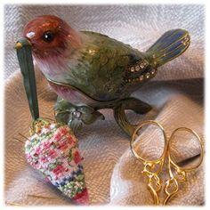 """Noellas Christmas Berry"" cross stitch pin keep and enamel bird box by Just Nan"