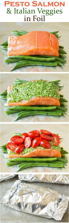 Pesto Salmon and Italian Veggies in Foil - This is an easy, flavorful dinner…