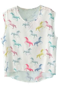 ROMWE | Colorful Horse Print White Vest, The Latest Street Fashion