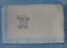 Vtg Dundee Baby Crib Blanket White Acrylic Blue Bear Cotton Trim Rn 17644 #Dundee
