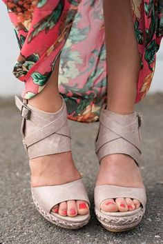Walk of the Town Braided Detail Ankle Wrap Buckle Wedges (Cream)