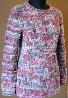 Купить Вязаная туника в технике пэчворк - комбинированный, вязаный свитер, туника вязаная, пуловер женский