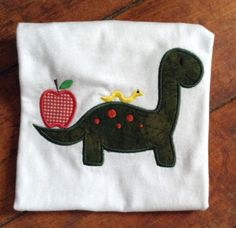 Dinosaur with Apple Appliqued T-shirt by SewingDoodles on Etsy