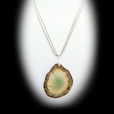Translucent Green Agate Pendant on Dual Silver Chains