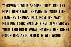 Putting your spouse first...