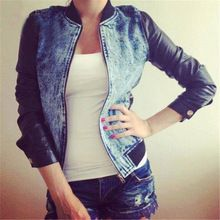 2015 new arrival spring autumn clothes denim jacket women jean jacket sexy casual jeans jackets patchwork slim coat plus size(China (Mainland))