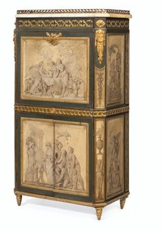 A French Ormulu-Mounted Green and Grisaille-Painted Secretaire-a-Abattant. Late 19th Century