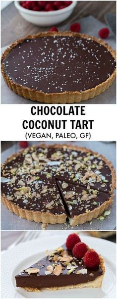 A decadent chocolate raspberry tart that starts with a chewy coconut almond crust and is filled with creamy chocolate coconut ganache. Recipe is gluten free and vegan