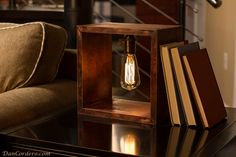 Add some industrial charm to your home, office or retail space with this Shadow Box Edison Lamp. This handcrafted pine wood shadow box stained red Lampe Edison, Edison Bulbs, Incandescent Bulbs, Edison Bulb Table Lamp, Luminaria Diy, Diy Luminaire, Wood Shadow Box, Shadow Shadow, Edison Lighting