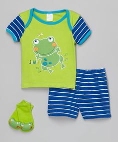 This Baby Mode Blue & Yellow Frog Lap Neck Tee Set - Infant by Baby Mode is perfect! #zulilyfinds