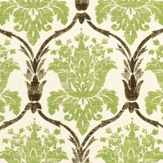 antique moss green and chocolate floral; would be great for the guest couch